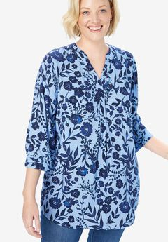 Three-Quarter Sleeve Tab-Front Top,