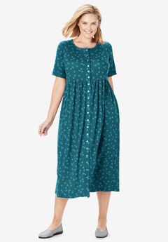 Dot Button-Front Essential Dress, MIDNIGHT TEAL DOTTED CIRCLES