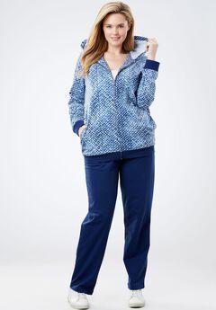 Tie dye knit jacket and pants set.,