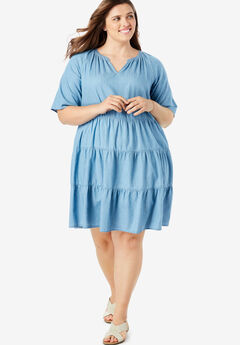 6700d56d59b Cotton Tiered Trapeze Dress. Woman Within