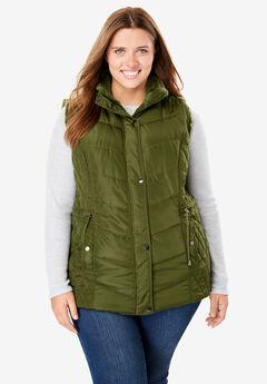 Reversible Nylon Faux Fur Vest,