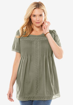 Lace Trim Pintucked Tunic, OLIVE GREY