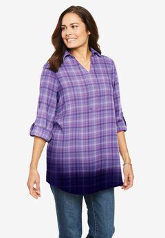 Flannel Dip-Dye Popover Shirt,