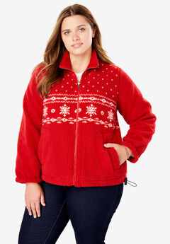 Snowflake Print Berber Fleece Jacket, RED WINTER FAIR ISLE