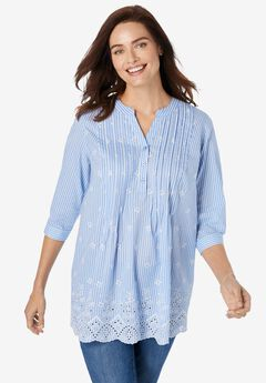 Embroidered Cotton Tunic, FRENCH BLUE STRIPE EYELET EMBROIDERY
