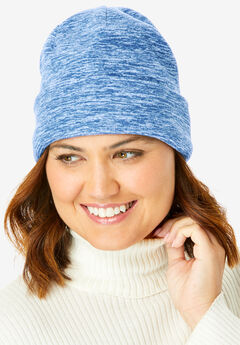Cuffed Fleece Hat, BLUE MARLED