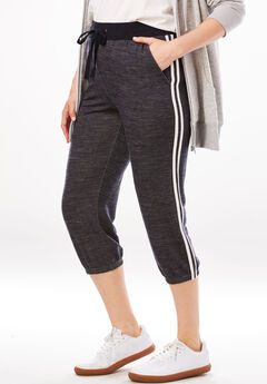 Supersoft Terry Side-Stripe Capri Jogger,