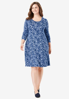 Trapeze Dress, EVENING BLUE CROSSHATCH FOLK