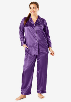 The Luxe Satin Pajama Set by Amoureuse®, RICH VIOLET
