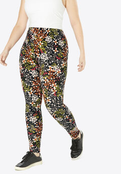 Stretch Cotton Printed Legging, BLACK FLORAL VINE