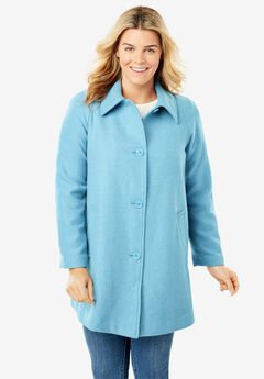 Wool-Blend Classic A-Line Coat, FRENCH BLUE
