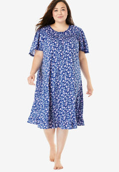Short Floral Print Cotton Gown by Dreams & Co.®, BLUE SAPPHIRE BUD