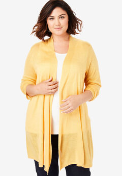 Lightweight Open Front Cardigan, BRIGHT GOLD HEATHER