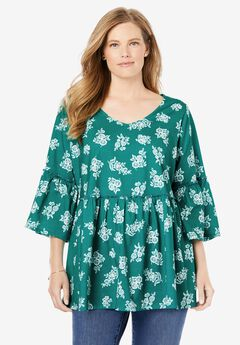 Flounced Hem Printed V-Neck Tunic, BRILLIANT JADE STENCIL FLORAL