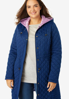 Quilted Reversible Hooded Coat, EVENING BLUE PASTEL LILAC