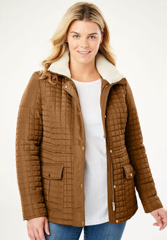 Quilted Utility Jacket, SOFT BROWN
