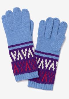 Fairisle Knit Gloves, PURPLE GRAPHIC FAIR ISLE
