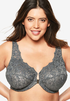 Embroidered Front-Close Underwire Bra by Amoureuse®, SLATE
