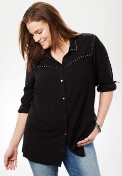 Studded Button-Down Shirt,