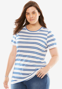 Perfect Crewneck Printed Tee, TWILIGHT BLUE DOUBLE STRIPE