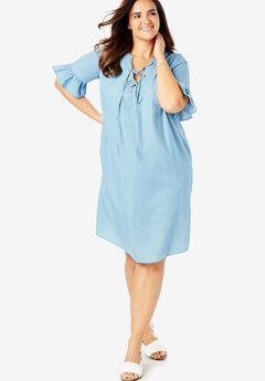 Ruffle Sleeve Lace-Up Dress,