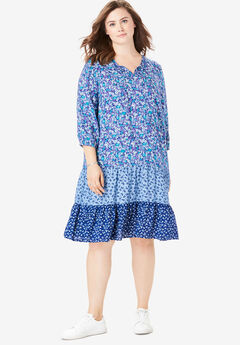 Mixed-Print Tiered Dress, EVENING BLUE GARDEN DITSY