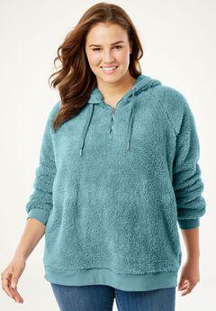 Quarter-Zip Sherpa Fleece Hoodie Sweatshirt,