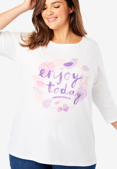 Graphic Print Three-Quarter Sleeve Tee,