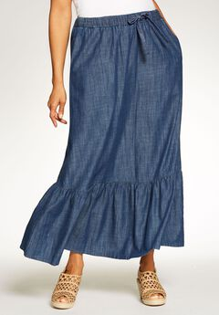 Chambray Drawstring Skirt,