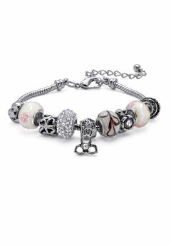 "Silver Tone Bali Style Red Crystal Charm 8"" Bracelet plus Extender,"