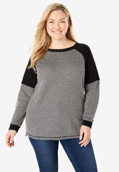 Raglan Washed Thermal Sweatshirt,