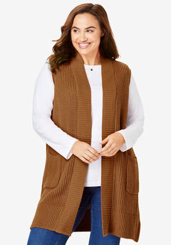 Open Front Shaker Sweater Vest, SOFT BROWN