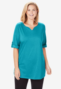Perfect Rolled-Sleeve Notch Neck Tunic, DEEP TURQUOISE
