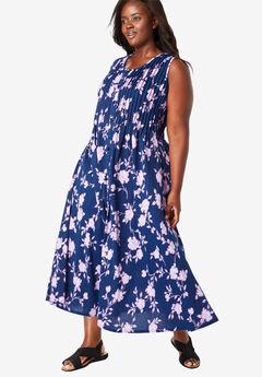 Pintucked Floral Sleeveless Dress, EVENING BLUE BLOSSOM
