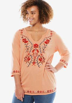 Folk-Inspired Embroidered Notch Neck Tee,