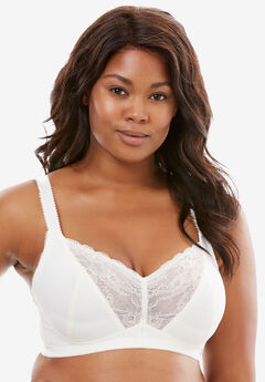 Lace-Trim Wireless Bra by Amoureuse®, IVORY