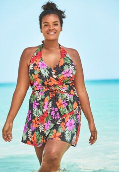 Surplice Halter Swimdress,