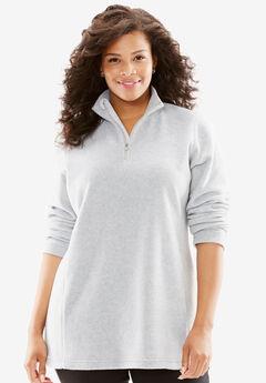 Quarter-Zip Microfleece Pullover, HEATHER GREY