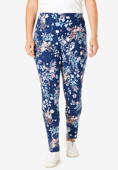 Stretch Cotton Printed Legging, EVENING BLUE SPRINKLE FLORAL