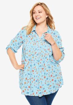 Pintucked Print Tunic Shirt,
