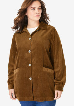 Pleat-Back Corduroy Jacket, SOFT BROWN