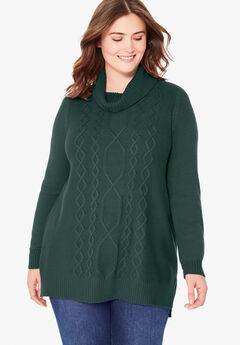 Mixed Cable Cowlneck Sweater, DEEP EMERALD
