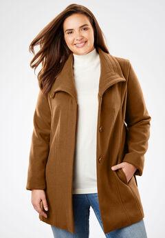 Wool-Blend Wrap Coat, SOFT BROWN