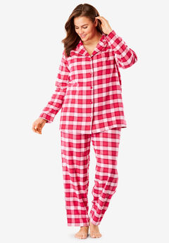 Classic Flannel Pajama Set by Dreams & Co.®, PINK BURST PLAID