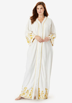 Long Embroidered Bell Sleeve Robe,