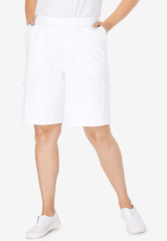 Pull-On Knit Cargo Short, WHITE