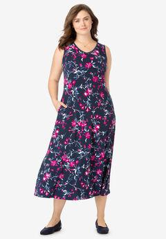 Sleeveless Print Fit & Flare Dress,