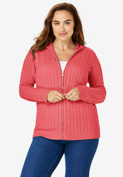 Hooded Cable Knit Zip-Front Cardigan,