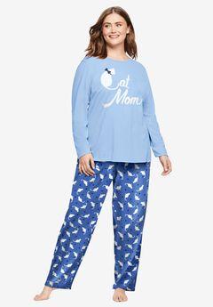 Long Sleeve Knit PJ Set by Dreams & Co.®, CORNFLOWER BLUE CAT MOM