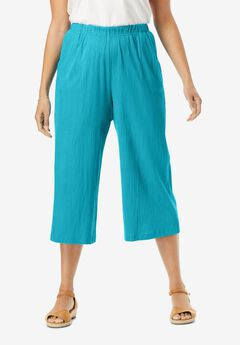 Elastic-Waist Knit Gauze Capri,